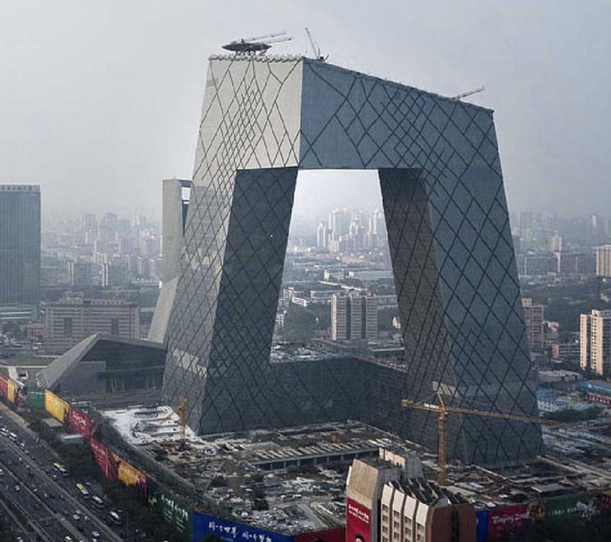 CCTV tower, designed by Rem Koolhaas in Beijing: Photo: e-architect.co.uk