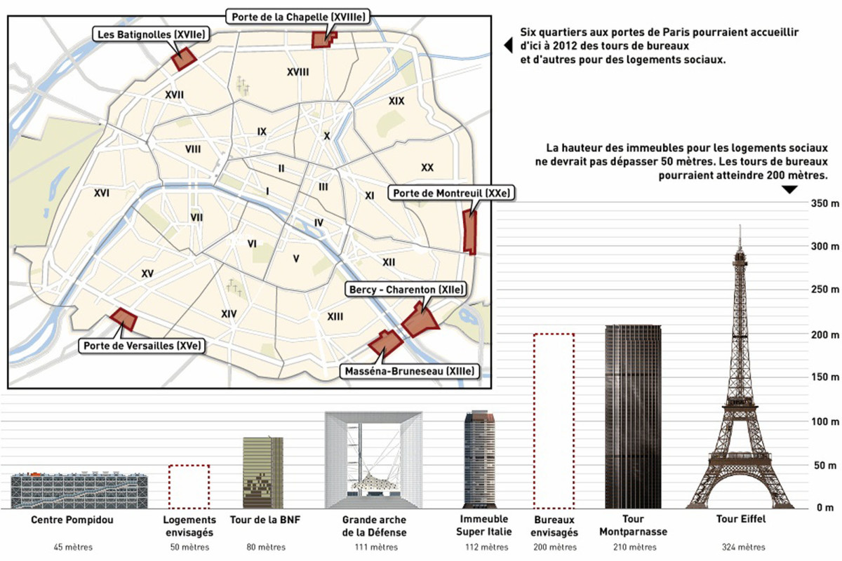 map of towers in paris