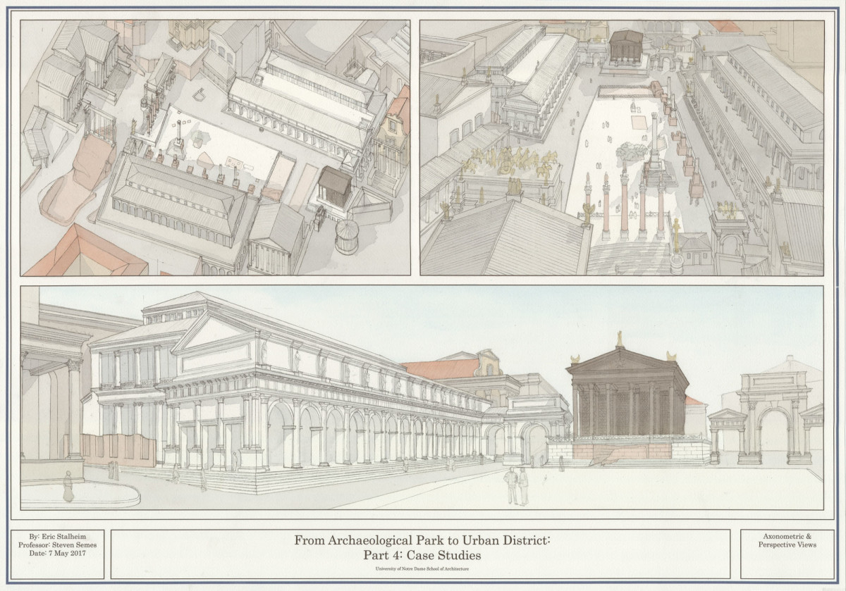 series of perspective views showing the proposed reconstruction of the Basilica Aemilia