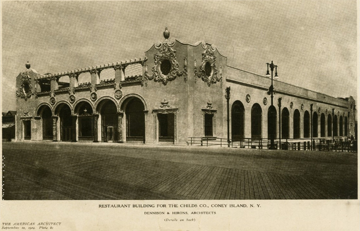 The Childs' Restaurant in 1924, as designed by Dennison & Hirons Architects. Photo: The American Architect magazine, September 10, 1924, courtesy of Diane Kaese
