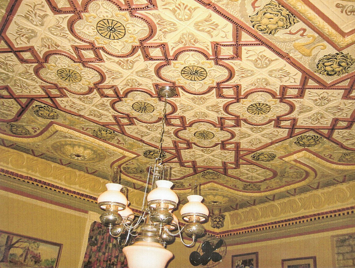 hand painted tin ceiling, traditional ceiling
