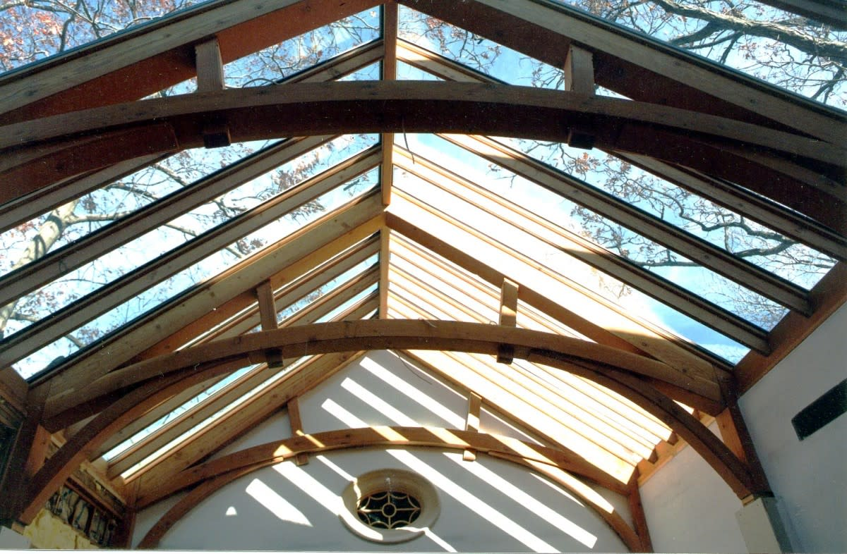 Timber Frame Glass Roof System in Bernardsville, New Jersey