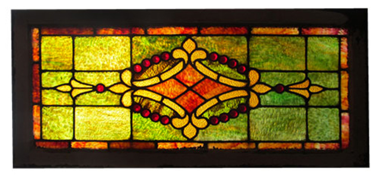 stained glass wooden nickel antiques