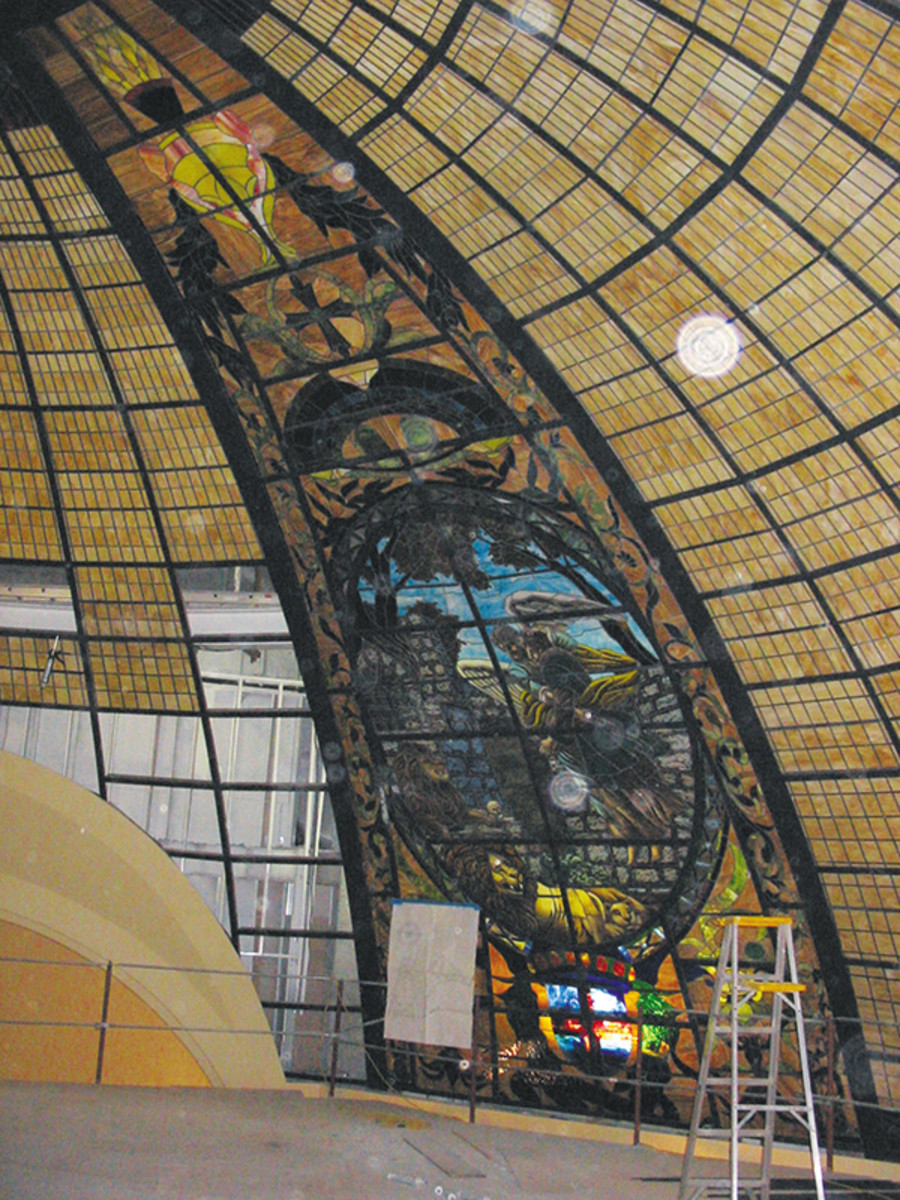 stained glass church dome construction