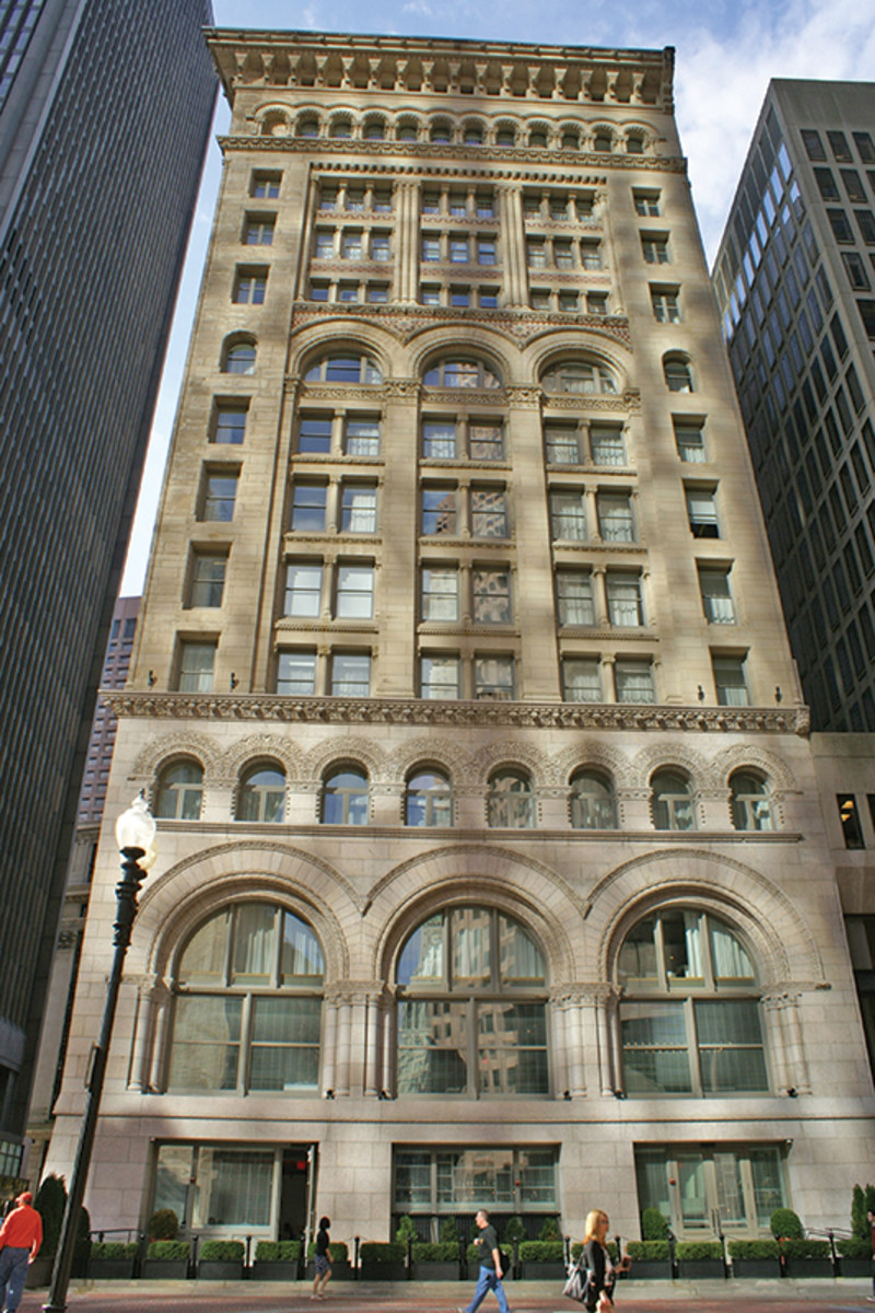Boston's first skyscraper was restored and rehabilitated in 2009. Built in 1889 for the Ames Agriculture Equipment Company, the Ames building now has a new life as a boutique hotel. Simpson Gumpertz & Heger Inc. (SGH) engineers consulted on evaluation and repair of the exterior masonry barrier walls and structural systems. All photos: Simpson Gumpertz & Heger Inc. (SGH)