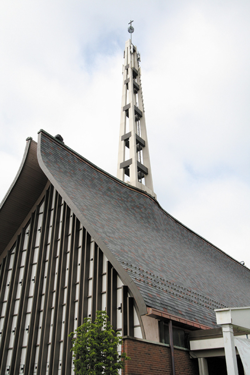 Pre-bent simulated-slate tiles hug the complex curvatures of the Kirkwood United Methodist Church's roof. Photo: courtesy of InSpire Roofing by The Tapco Group