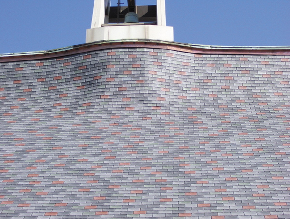 Multiple curvatures at the base of the Kirkwood Methodist Church's bell tower presented challenges for both aligning the roof tiles and attaching the vented nail base beneath the tiles. Photo: courtesy of InSpire Roofing by The Tapco Group