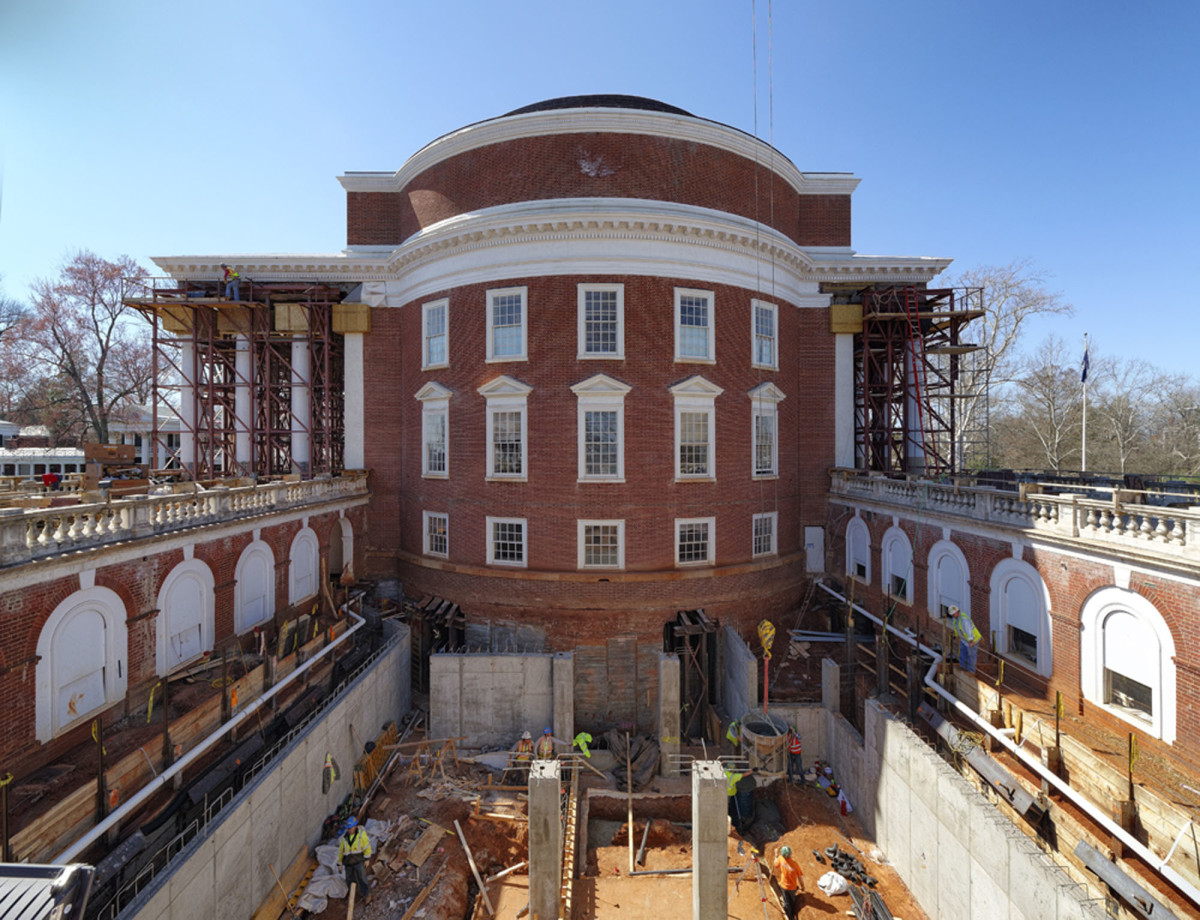 The east courtyard was excavated to provide a new subterranean vault that is used to separate mechanical equipment and service areas from the historic spaces. The east walls of the Rotunda were underpinned, and the new basement was extended beneath the building. Temporary shoring was constructed at the north and south porticos to facilitate the replacement of the marble column capitals.