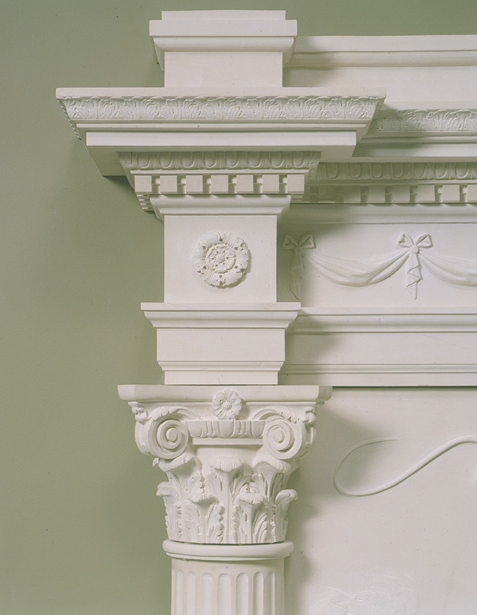 Detail of hand-carved stone mantel