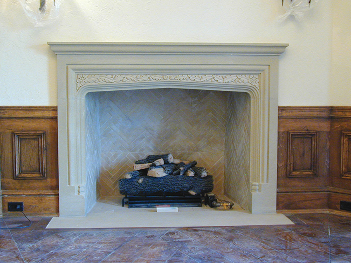 British sandstone mantel by Traditional Cut Stone.