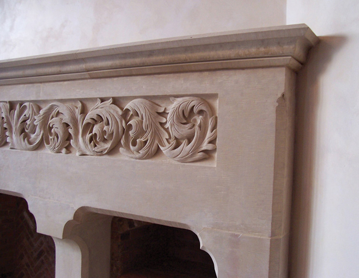 hand carved stone mantel