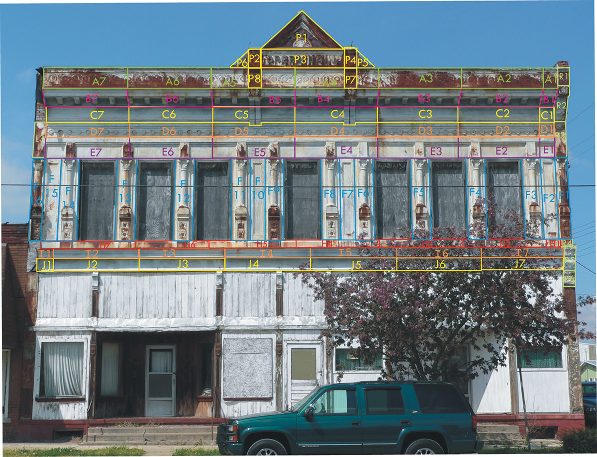 Anna Margaret Barris and Darius Bryjka helped remove the Mesker façade in Stewardson, and Barris also created this map documenting every piece of galvanized sheet steel and cast-iron facade as a guide for re-installation.