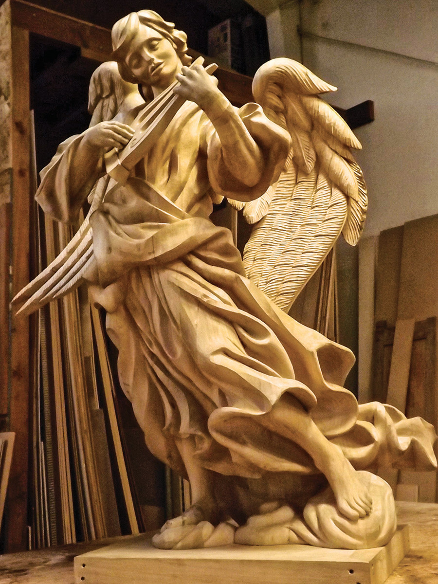 This angel is one of many religious pieces carved by Agrell Architectural Carving. Photo: courtesy of Agrell