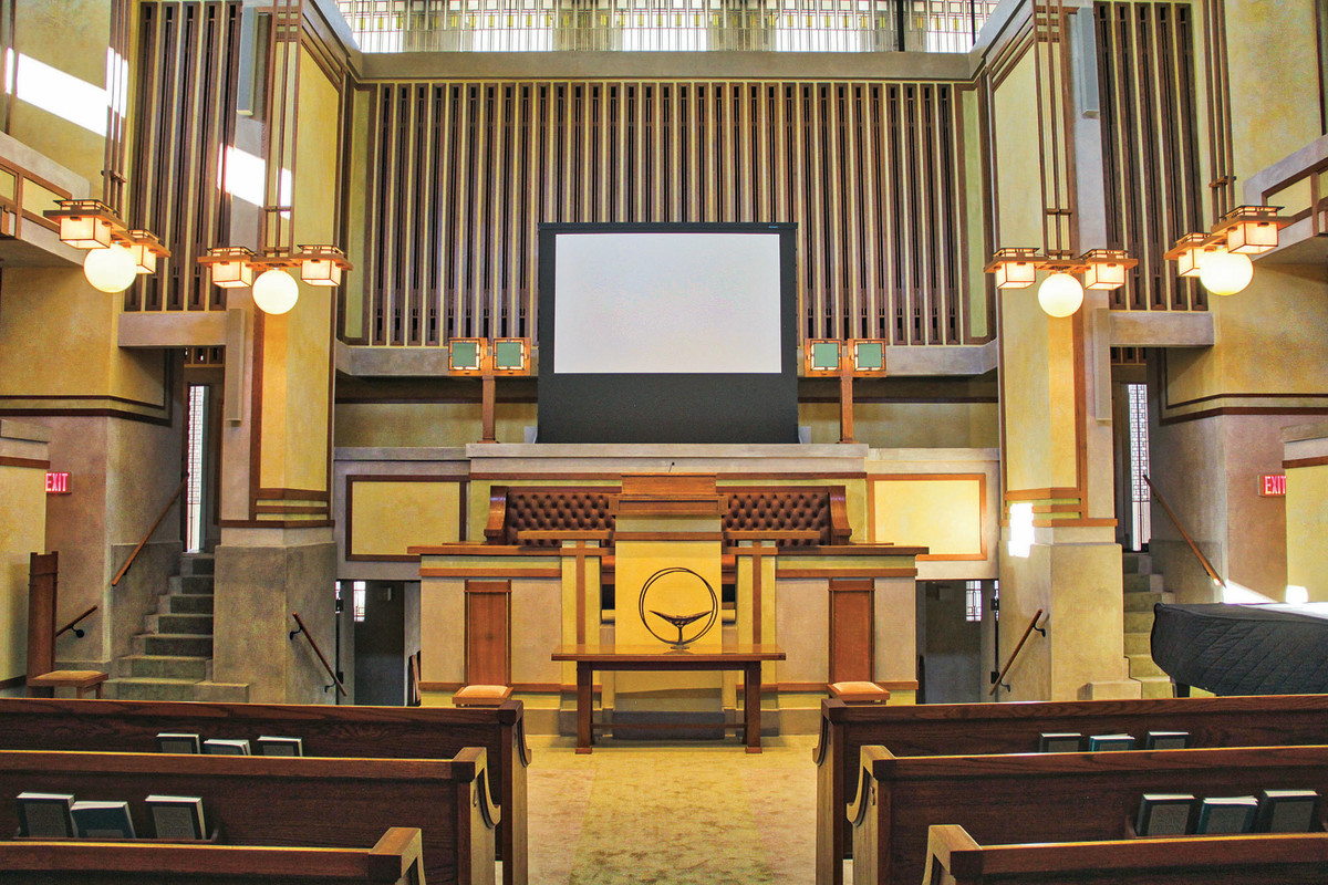 Heritage Restoration and Design spent two years stripping and refinishing all the wooden elements Frank Lloyd Wright's 1908 Unity Temple in Oak Park, IL.