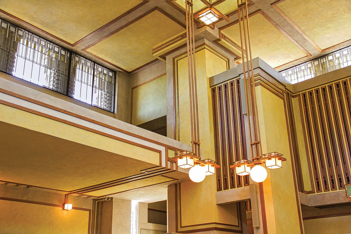 The restored interior once again reflects Frank Lloyd Wright's original design. Most of the original woodwork was kept. It was removed, restored and reinstalled.