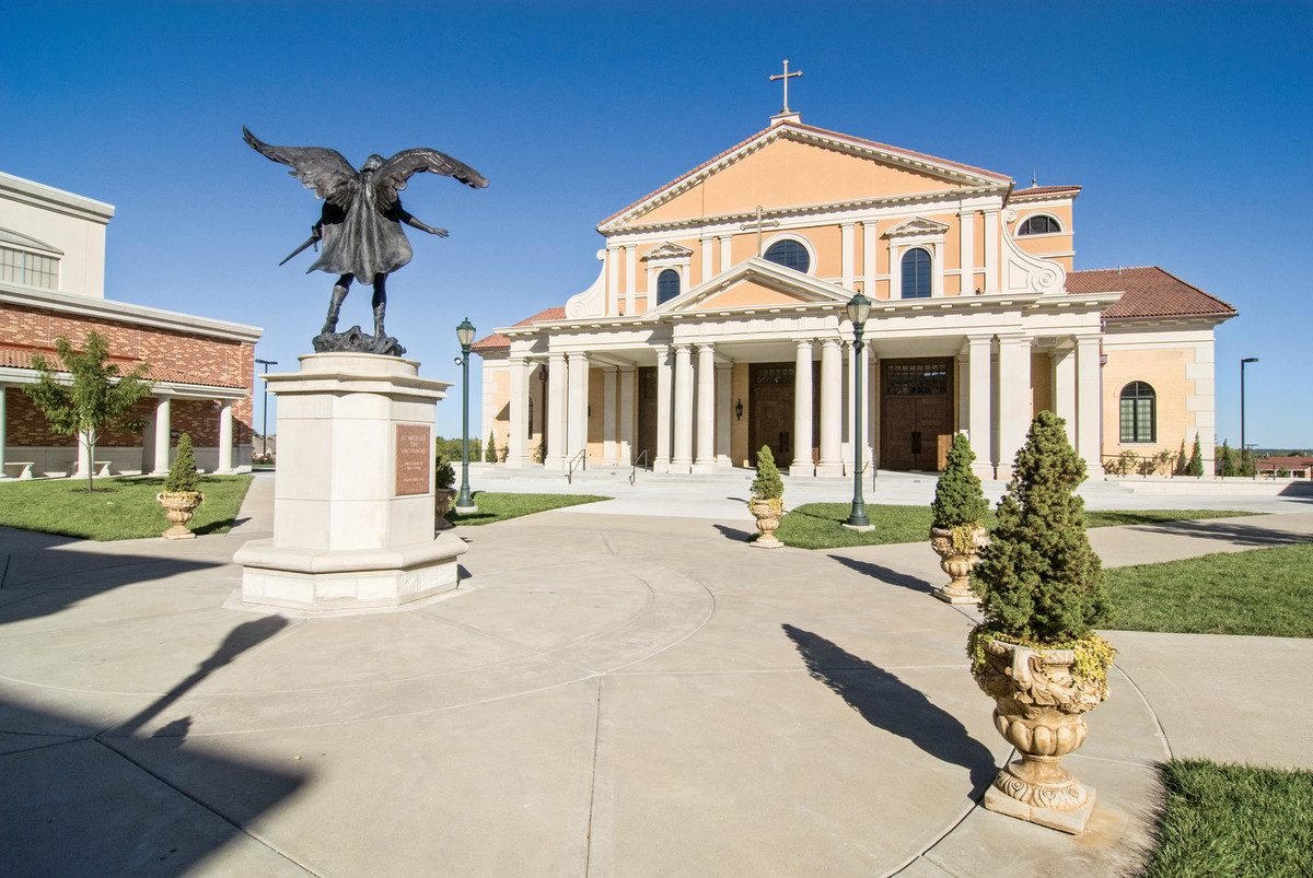 Per the parish request, the exterior façade of Saint Michael the Archangel Catholic Church in Leawood, KS, is distinctively Roman to connect it to the eternal city. All photos: David B. Meleca  Architects unless otherwise noted
