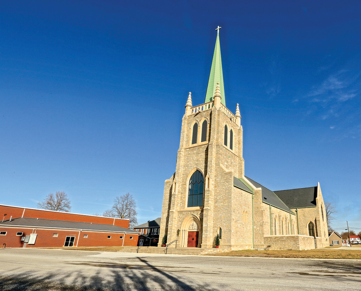 When a tornado destroyed St. Joseph's Catholic Church in Ridgway, IL, the town consolidated four parishes and rebuilt as St. Kateri Tekakwitha. Designed by Cram and Ferguson, the new church is built to withstand severe weather conditions and earthquakes. All photos: Lindsay Adams
