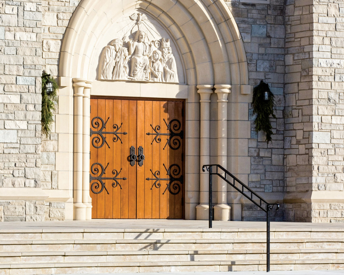 The main wood doors were built by Historic Doors, LCC, with hardware supplied by Hammersmith Studios, Newton, MA.