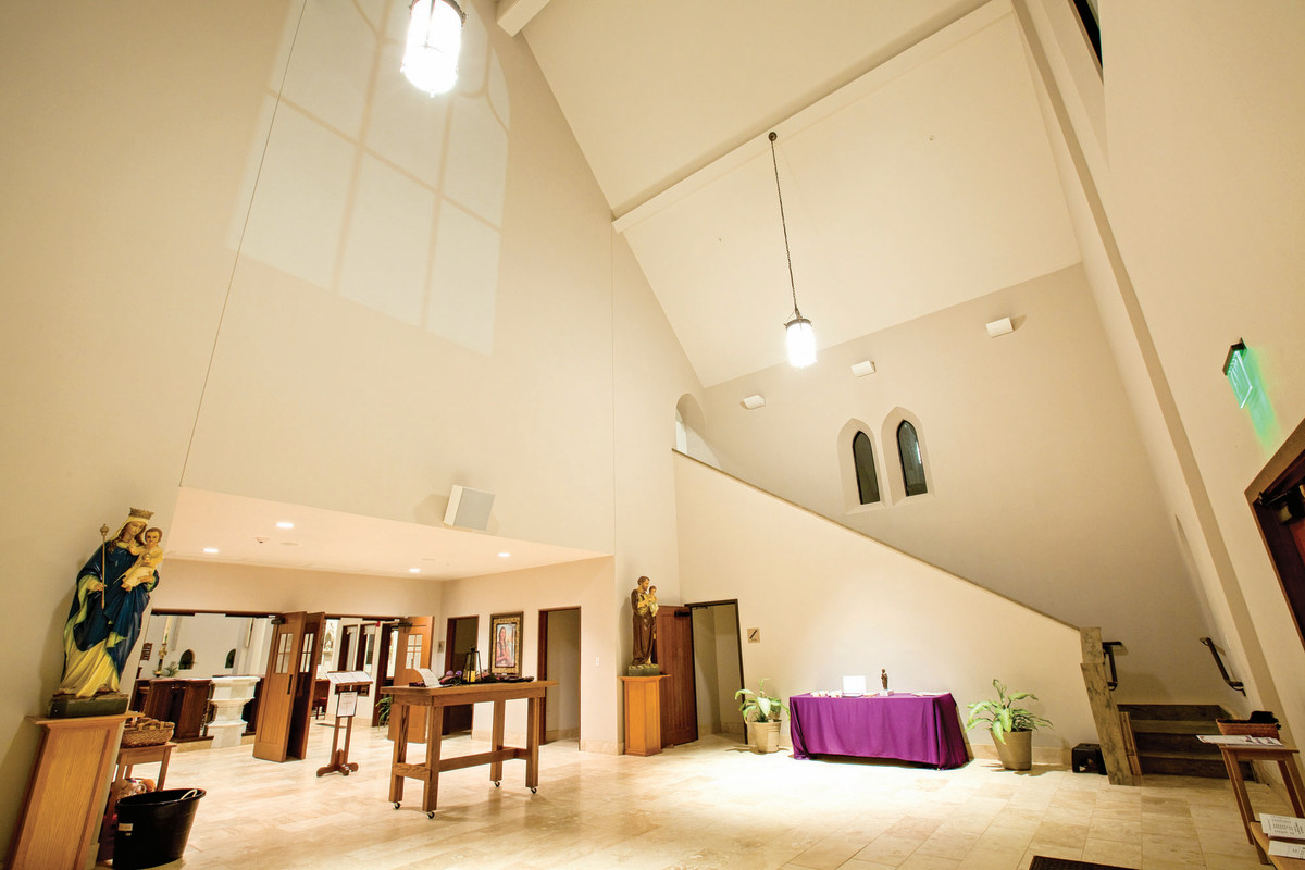 The narthex is formed by the base of the tower. It accommodates 100-150 people as they enter the church and also provides a warm welcoming space where the congregation can gather for coffee.