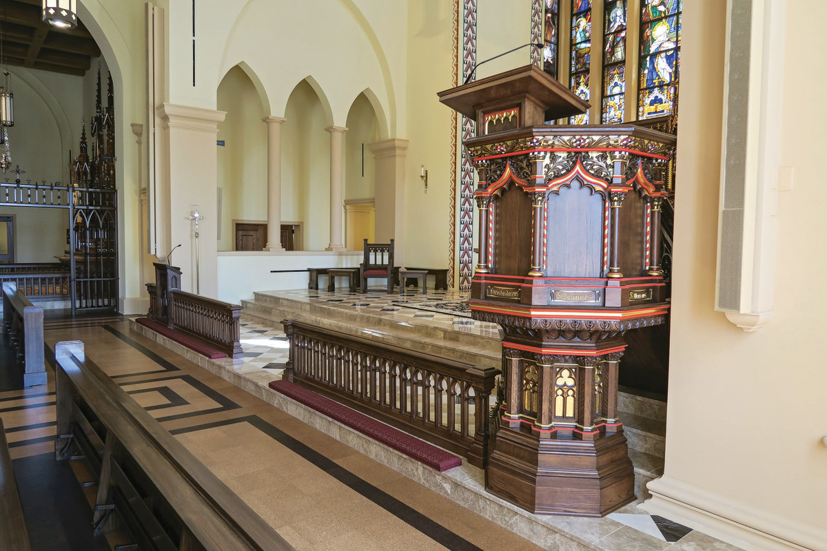 The antique altars, ambo, reading stand and presidential chairs were acquired from Ohio and England and were restored and constructed by Mountain View Millworks.