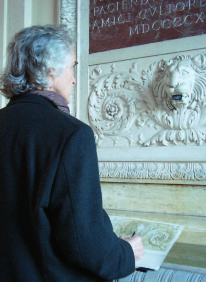 D. Jeffrey Mims draws the Lion Fountain at the American Academy in Rome. (Fine Arts Connoisseur)