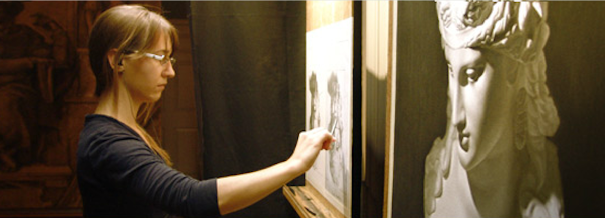 A student sketches in hall at the academy. (Academy of Classical Design)