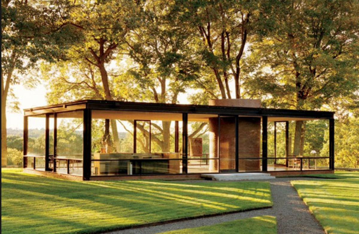 Glass House, built in 1949 by Philip Johnson. Photo: Architectural Digest