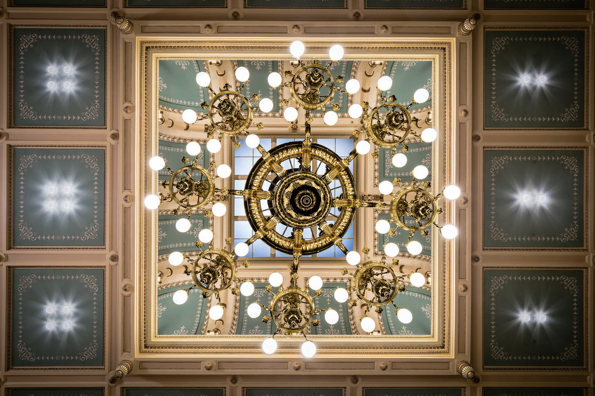 refurbished chandelier in the House chambers