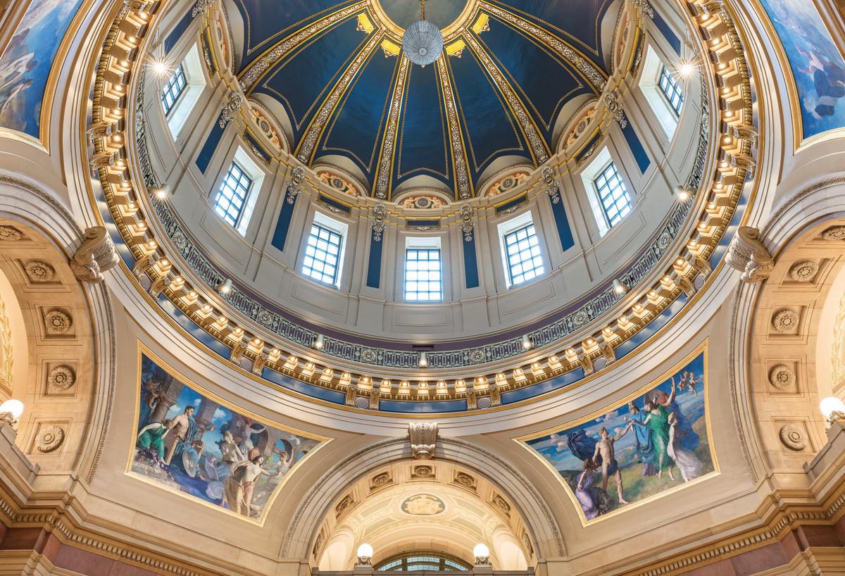 newly restored Minnesota capitol dome