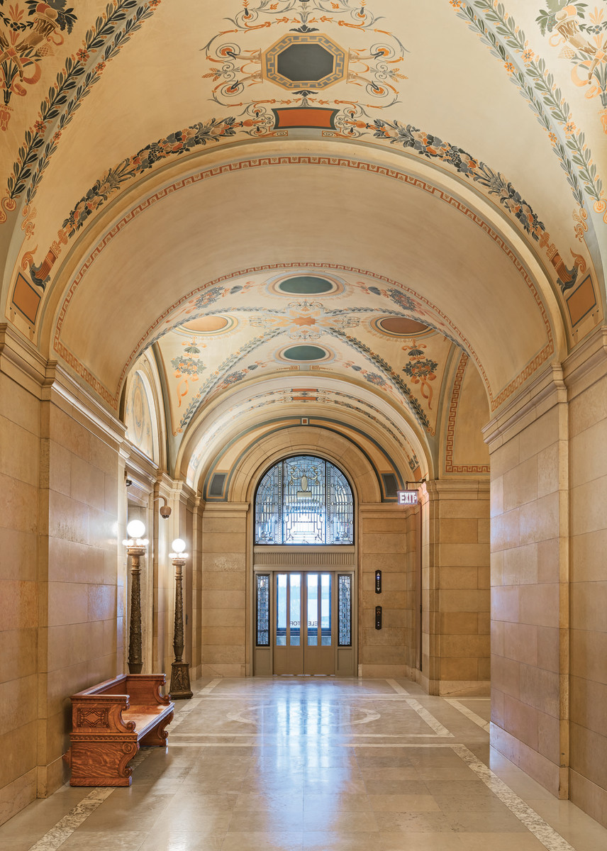 stencil restoration inside Minnesota capitol