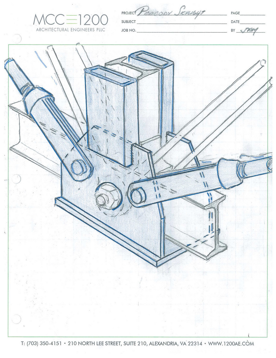 """Compare this construction drawing of the steel """"saddle"""" to the photo to understand the reversibility of this design."""