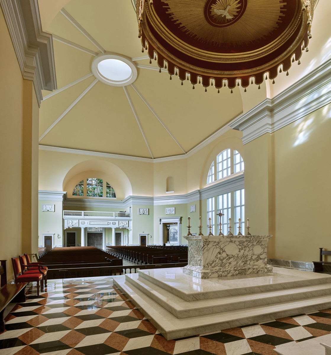 Carrara marble predella