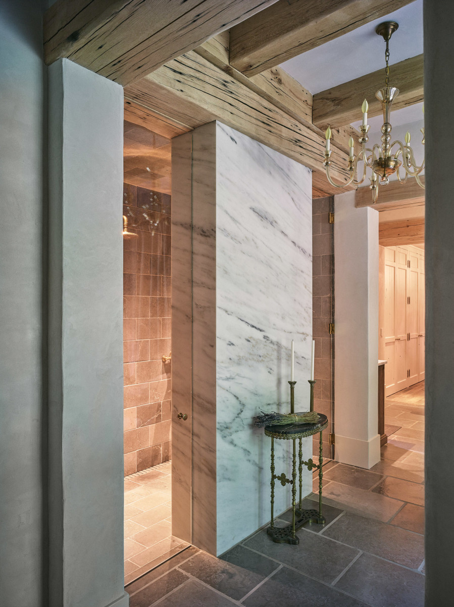 limestone and Carrara marble shower