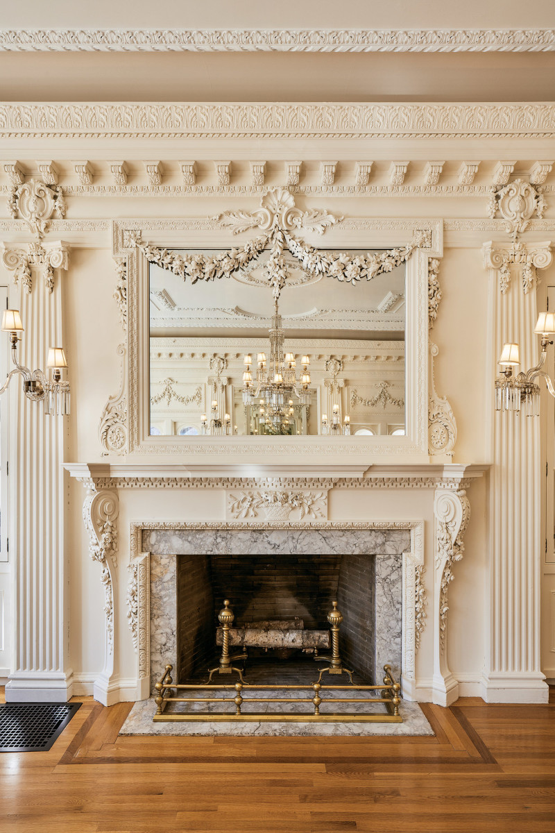 BU music room fireplace, ornate hearth