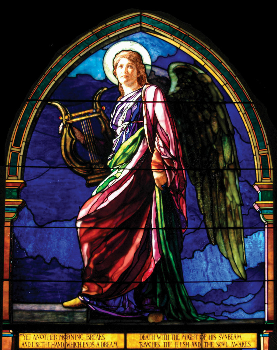 """The Harpist"" window at Emmanuel Church-West Roxbury"