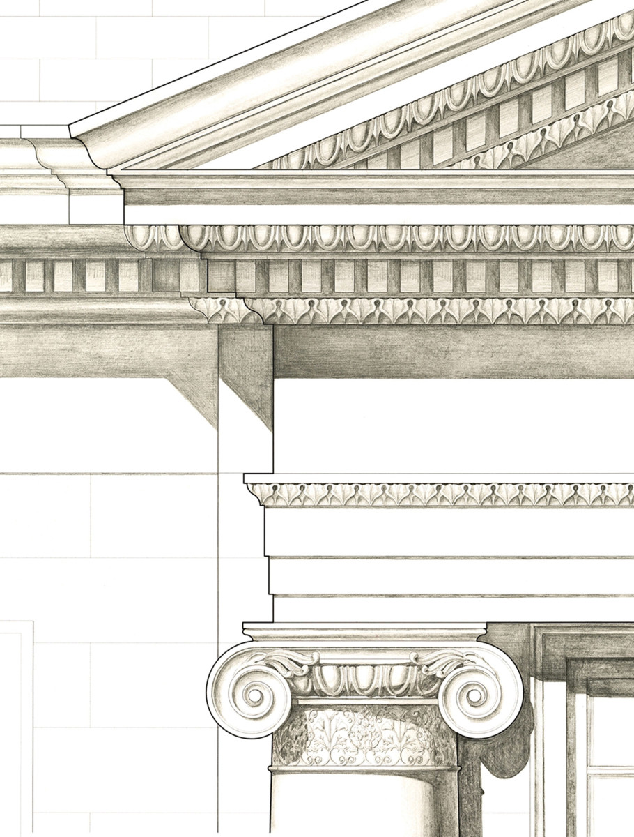 sketch of traditional molding, classical architecture