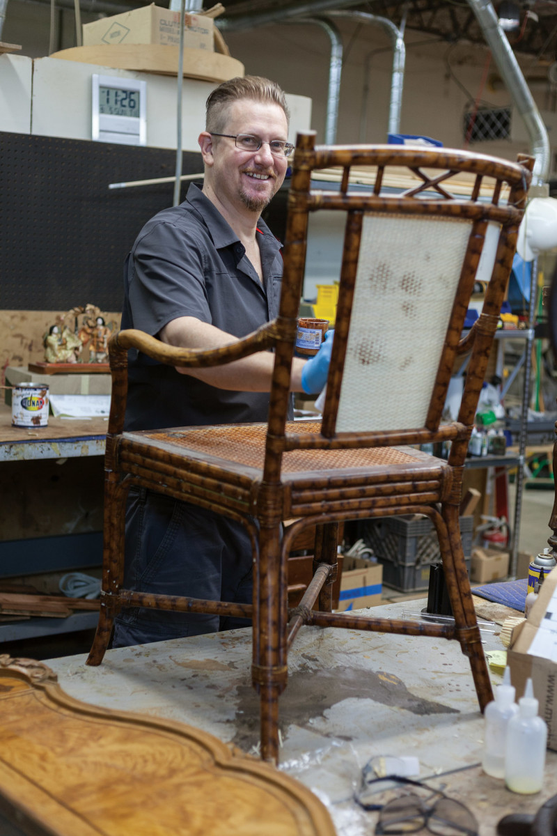 Bernard restoring a chair