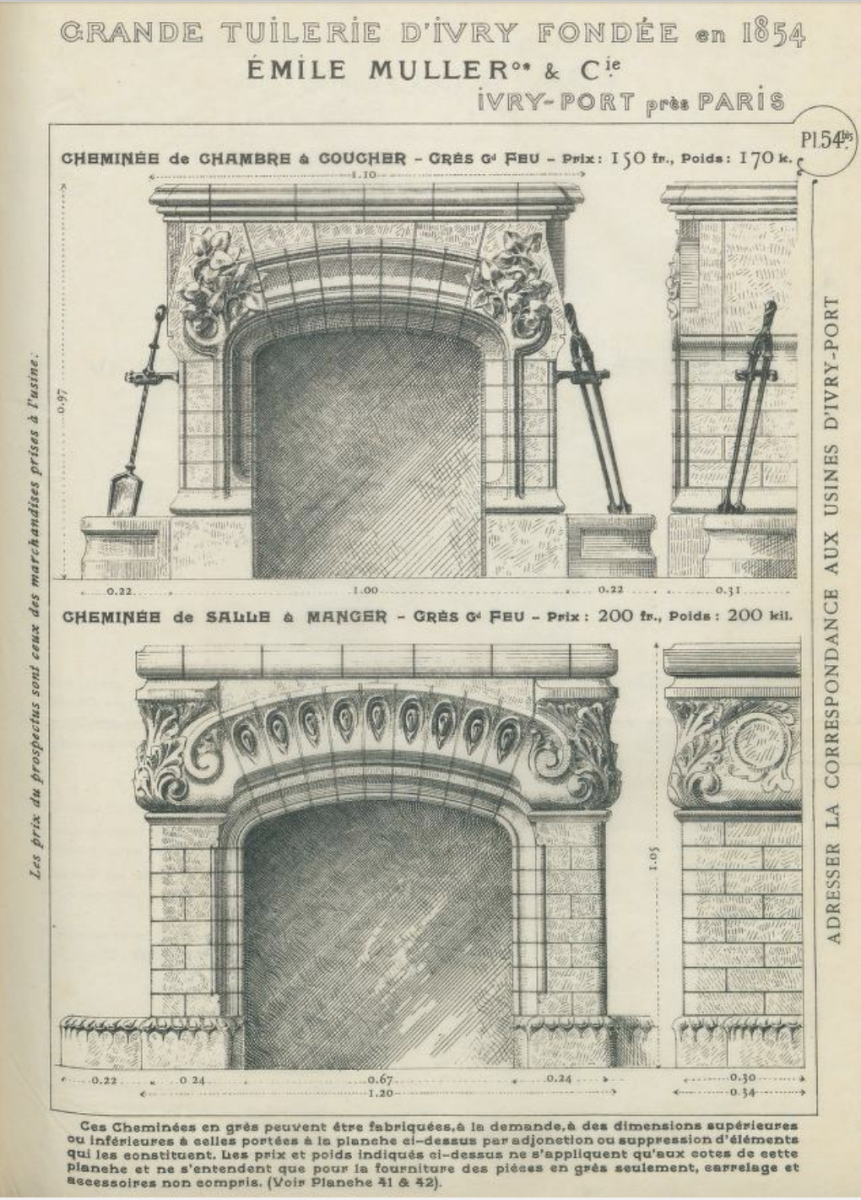 Fireplace mantel from Emile Muller & Cie, Paris France, 1904