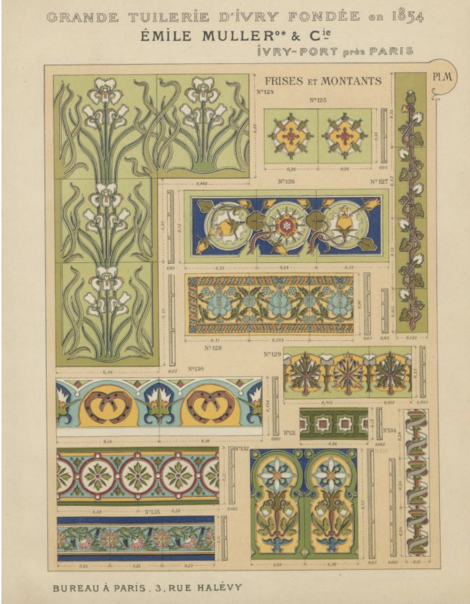 Ceramic tile from Emile Muller & Cie, Paris France 1904 Link to the complete documents.