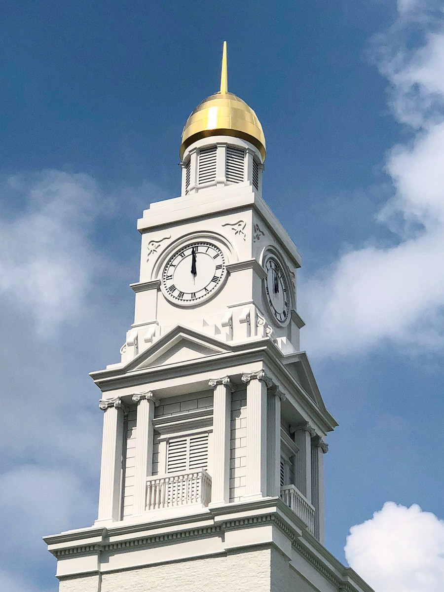 gold-leaf dome, finished clock tower