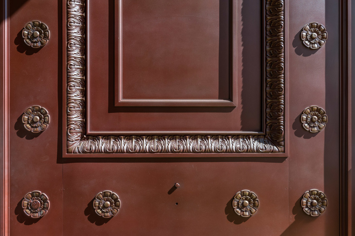 Close-up of finished door.
