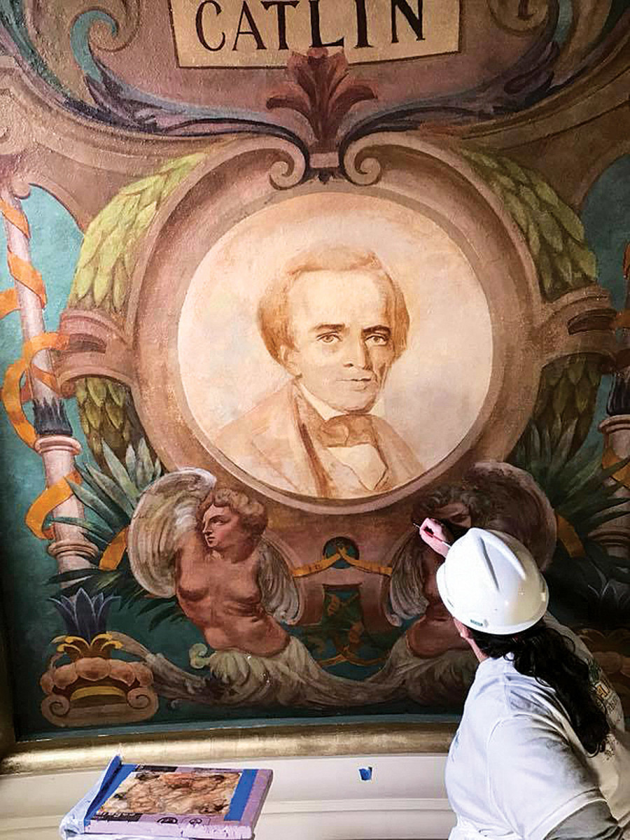 art conservation, artist paints mural at Luzerne County Courthouse