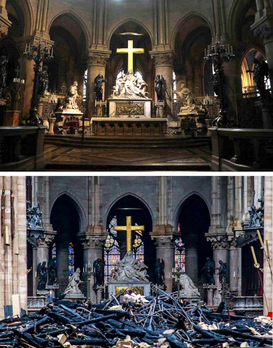 nave of notre dame before and after the fire