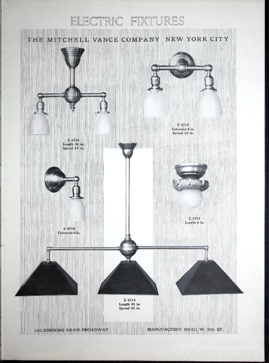Electric fixture catalogue 18, 1913 Mitchell Vance Company, New York NY