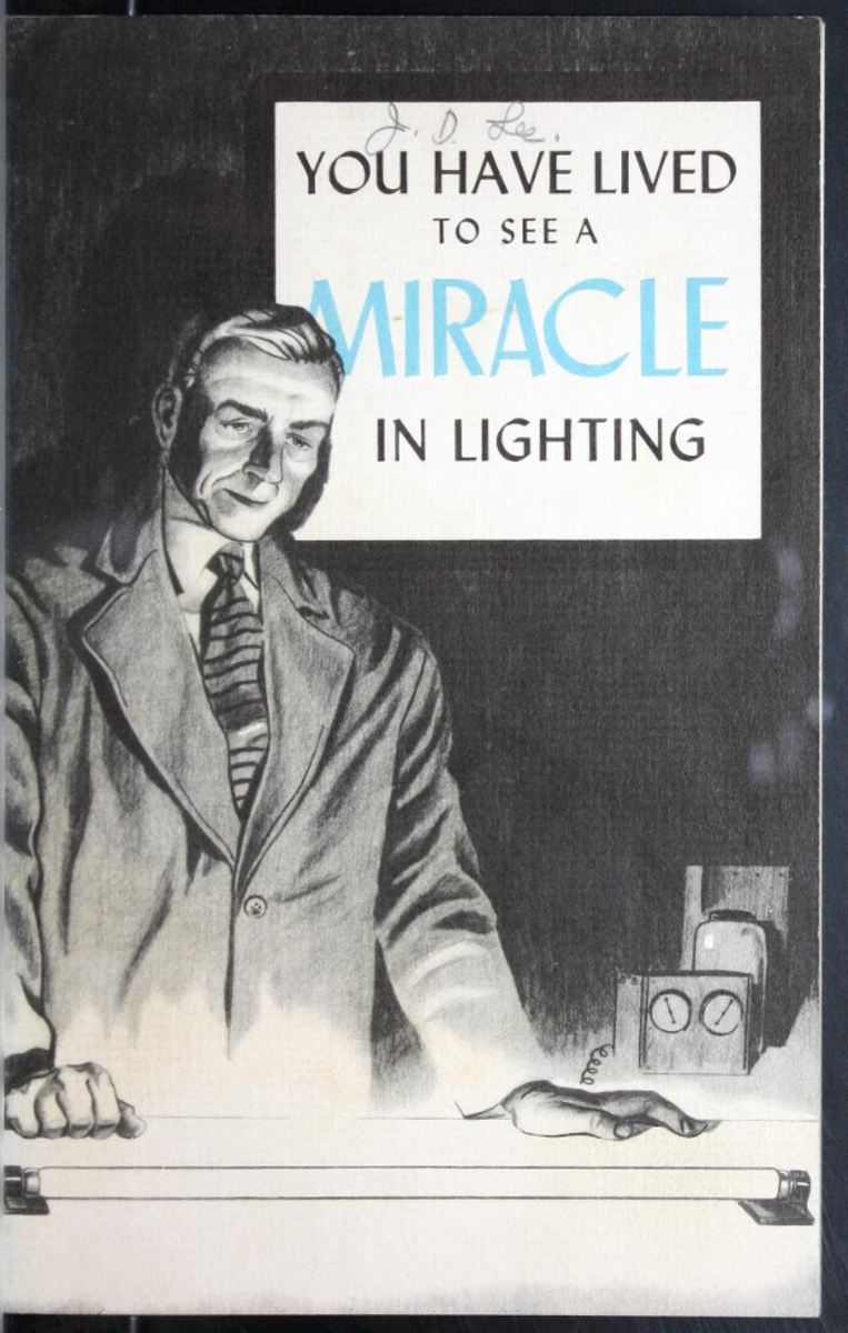 The dream of scientists becomes an accomplished fact: the story of fluorescent lighting by the pioneers of the fluorescent lamp. c. 1940 Hygrade Sylvania Corporation, Salem, MA