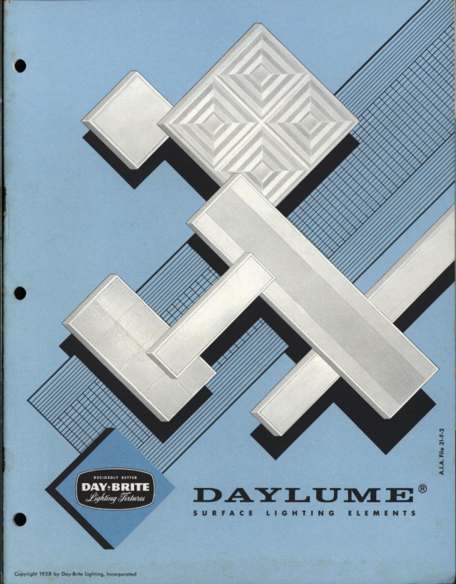 Daylume surface lighting elements, 1958. Day-Brite Lighting Inc., St. Louis MO