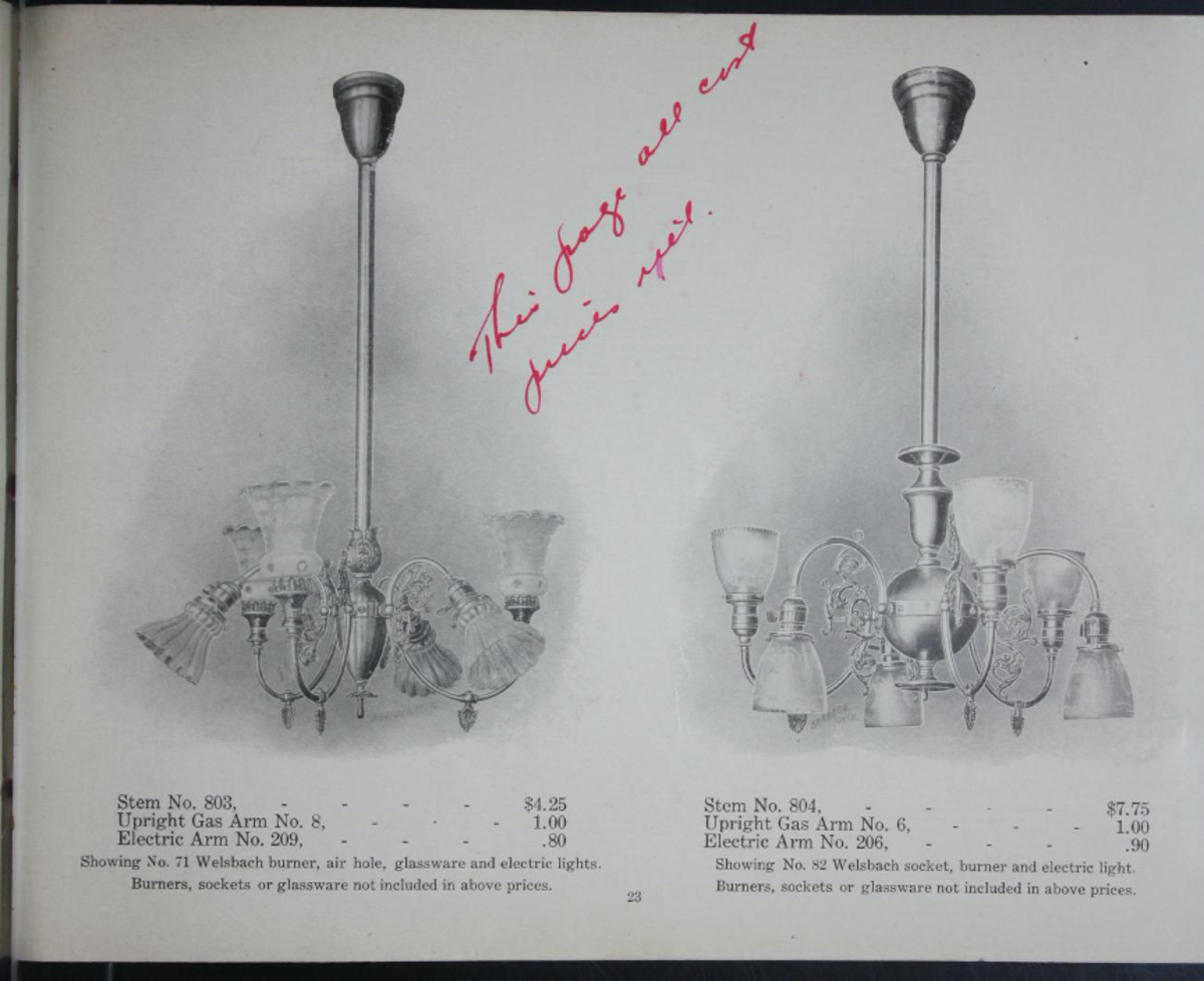 Gas electric combination fixture catalog, c. 1900. Welsbach Commercial Company, Columbus OH