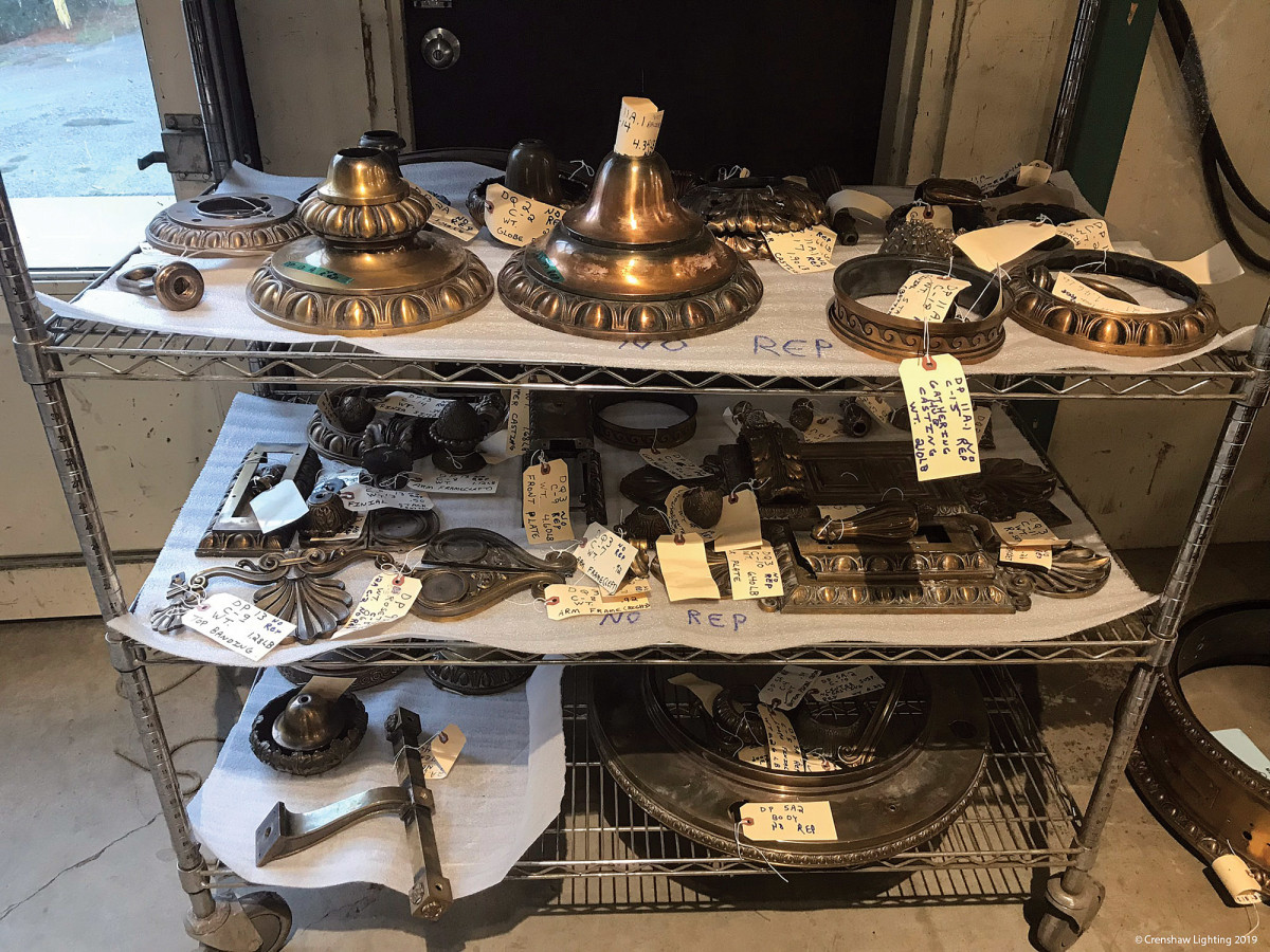 Besides the electrical upgrades, the Wyoming State Capitol called for cleaning and replicating intricate brass castings—stock-in-trade at Crenshaw.