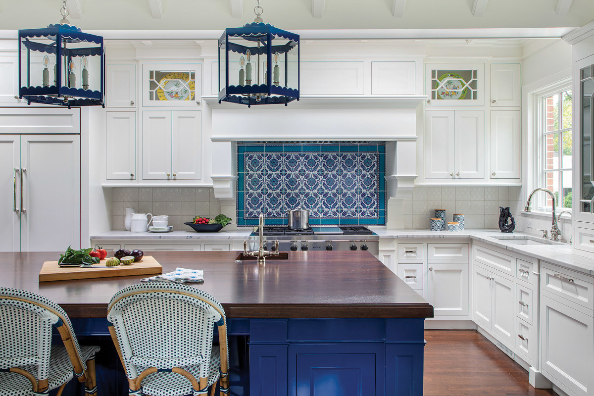 Custom kitchen cabinetry with a pop of color for an 1899 lakefront home.