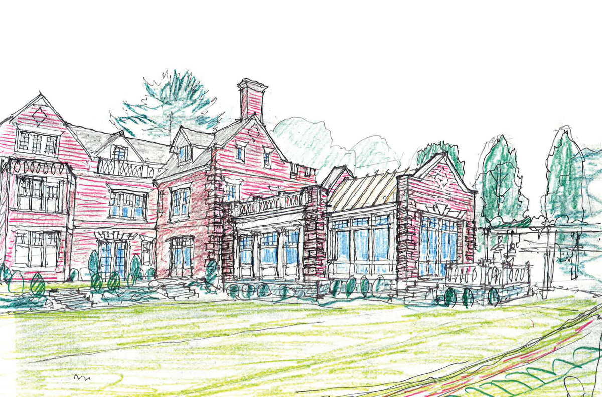 Architect's rendering for a historic replication addition to an 1899 Jacobean style home.